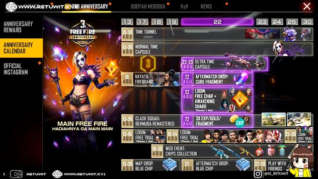 Kalender Event 3rd Anniversary Free Fire Resmi Rilis Ini Loh Hadiahnya