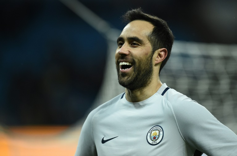 Manchester City's goalkeeper Claudio Bravo reacts during the FA Cup fifth round replay football match against Huddersfield Town March 1, 2017