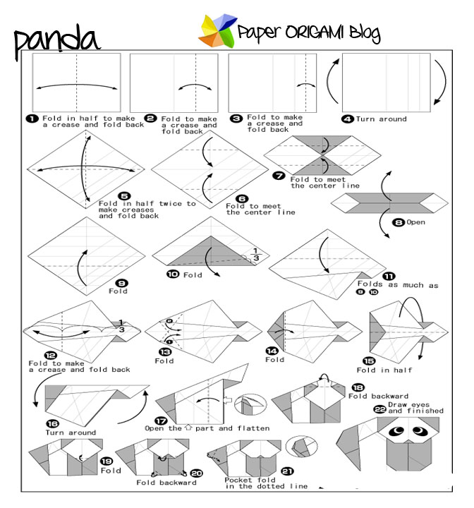 Origami Panda by Makoto Yamaguchi Folded from 2 squares of origami ... | 720x672
