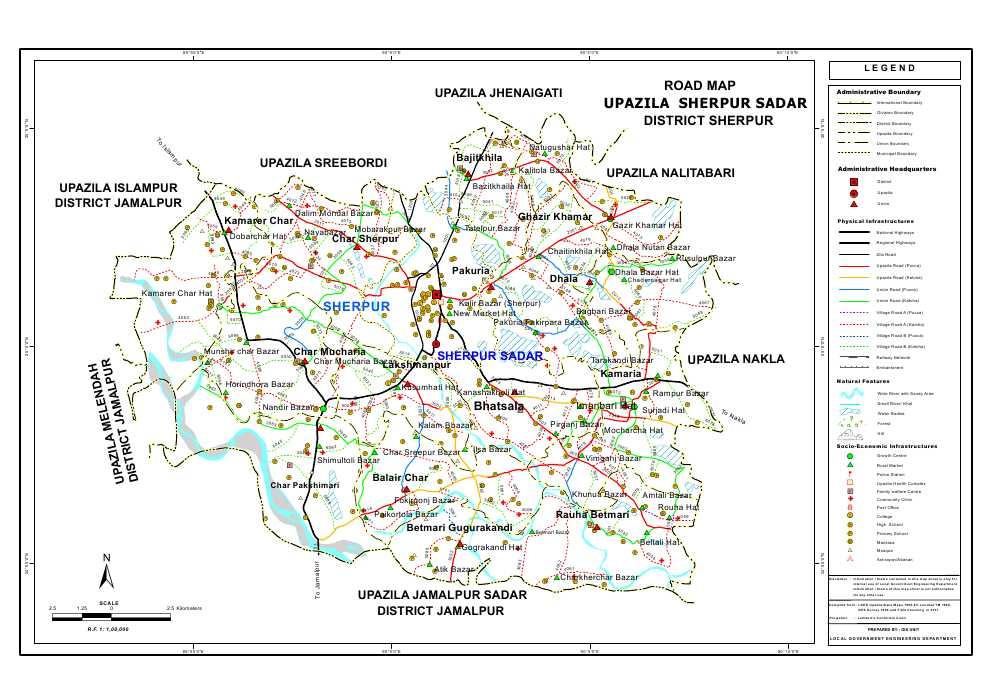 Sherpur Sadar Upazila Road Map Sherpur District Bangladesh