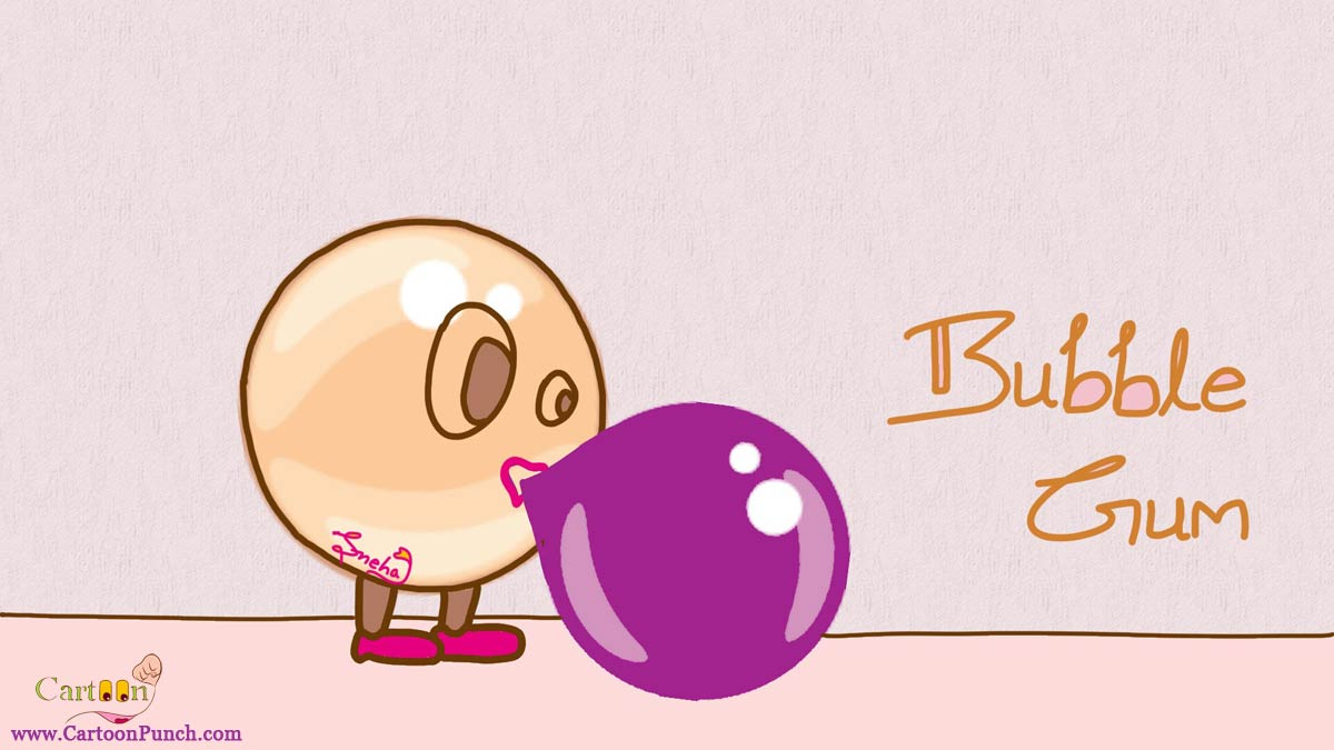 Bubble Gum inflating bubble balloon from chewing gum cartoons by sneha!