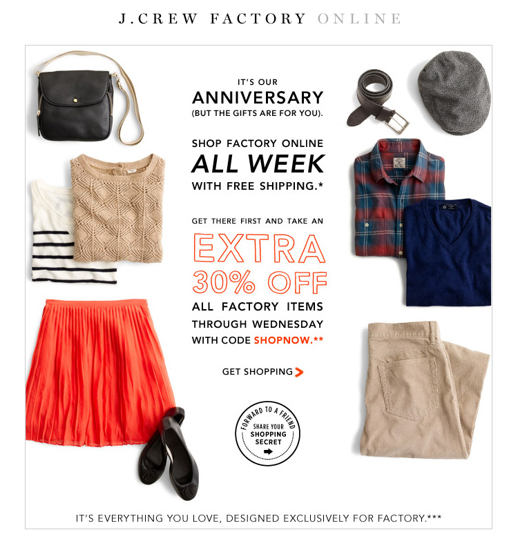 7ea37eec09ae Über Chic for Cheap  J.Crew Factory Online  30% Off + Free Shipping