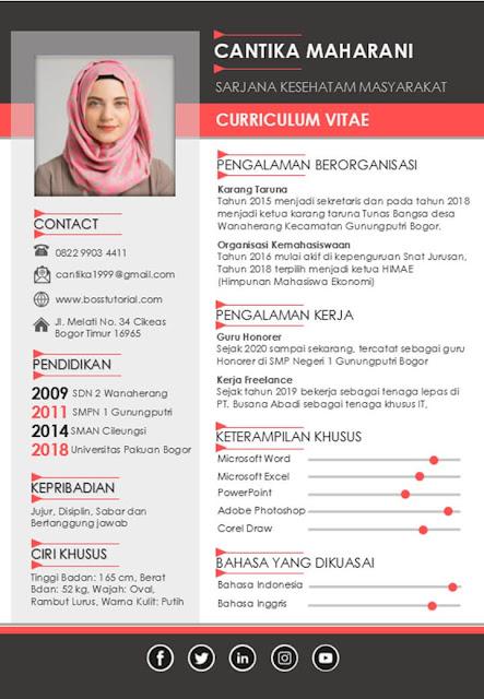 Contoh CV Lamaran Kerja yang Dibuat dengan Word