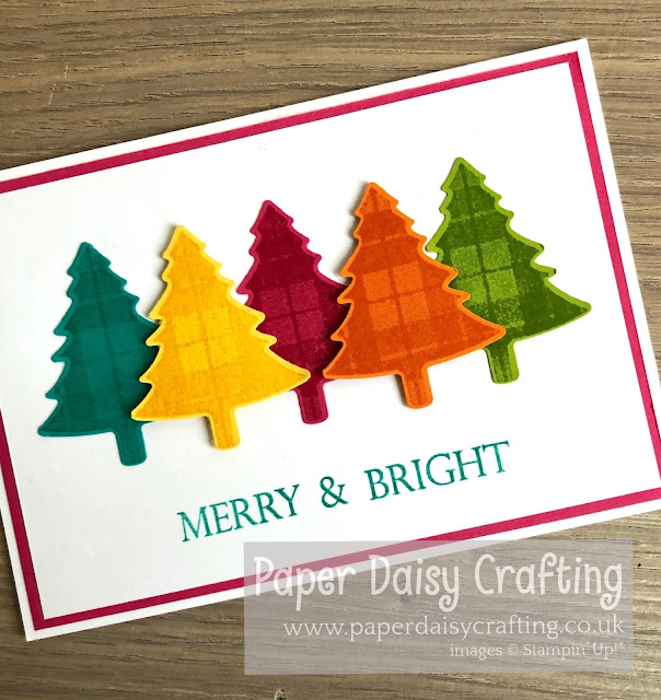 Rainbow Christmas trees Stampin' Up! Perfectly Plaid