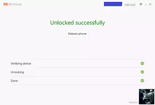Success Unlocked Bootloader Redmi Xiaomi MI