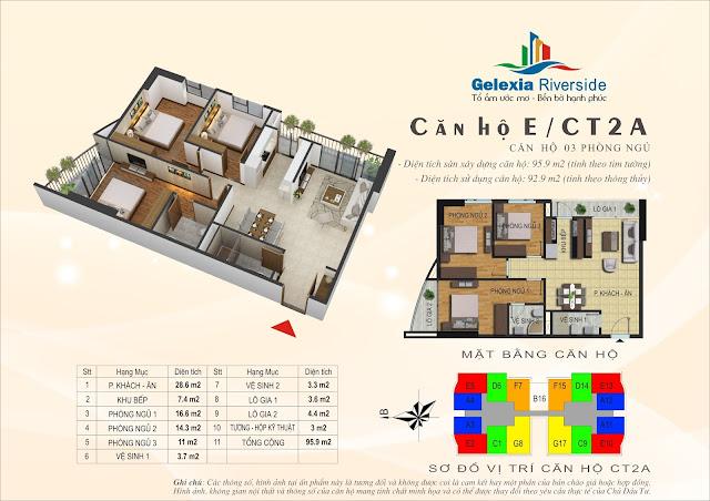 Thiết kế căn hộ E - 3 phòng ngủ tòa CT2A Gelexia Riverside