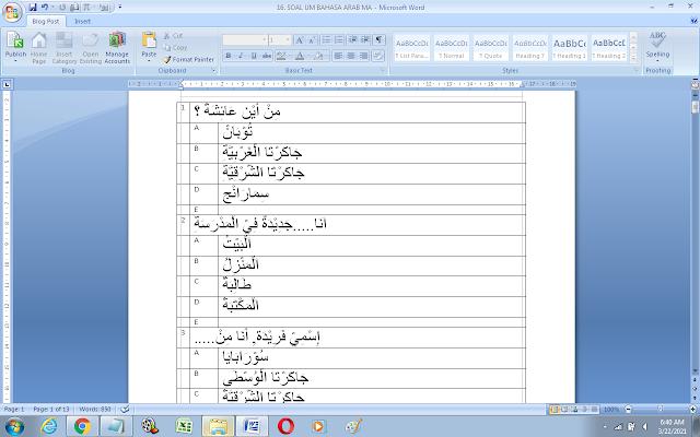 Contoh Soal Ujian Madrasah (UM) Bahasa Arab MA