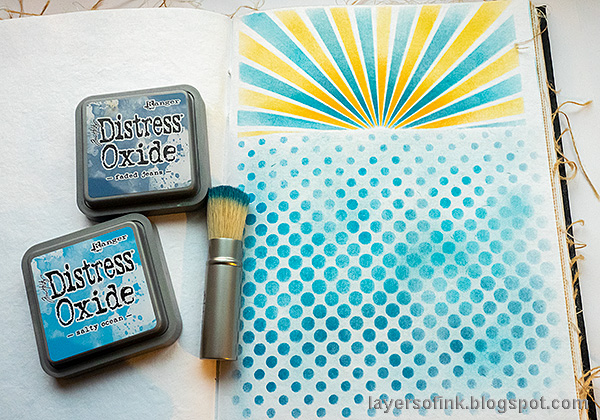 Layers of ink - New Year Art Journal Page by Anna-Karin Evaldsson. Tim Holtz Gradient Dot stencil.