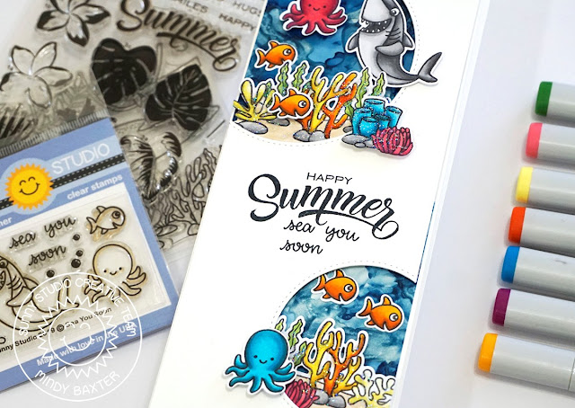 Sunny Studio Stamps: Video by Sunny Studio Stamps on youtube · · · Sunny Studio Stamps: Sea You Soon, Tropical Scenes & Stitched Semi-Circle Dies Summer Slimline Card with Video Tutorial by Mindy Baxter