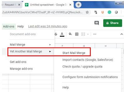 Start mail merge - google sheet
