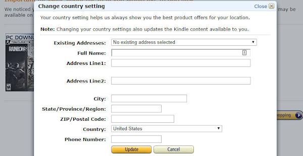 米アマゾン 住所登録