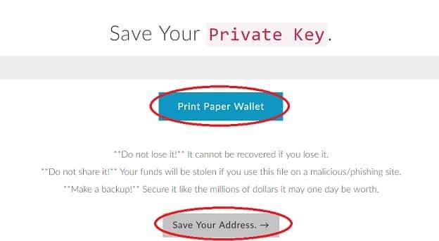 guardar dirección seguridad clave privada my ether wallet monedero