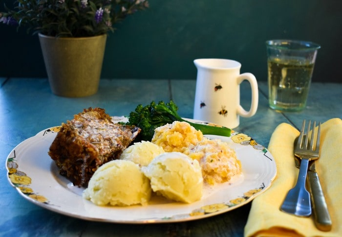 Vegan haggis, neeps and tatties served with creamy whisky sauce
