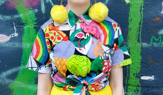 print all over me, colourful print, lorelai flamingo necklace