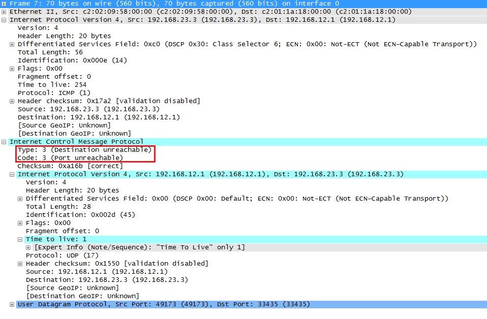 التقاط Wireshark Traceroute وجهة ICMP غير قابلة للوصول