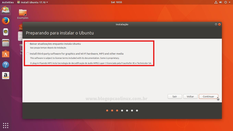 Você tem a opção de instalar as atualizações, codecs e drivers proprietários durante a instalação do Ubuntu