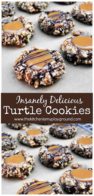 Insanely Delicious Turtle Cookies ~ The classic flavors of turtle candy ... chocolate, pecans & caramel ... in a soft & INSANELY delicious cookie. Just perfect at Christmas time and ALL through the year!  www.thekitchenismyplayground.com