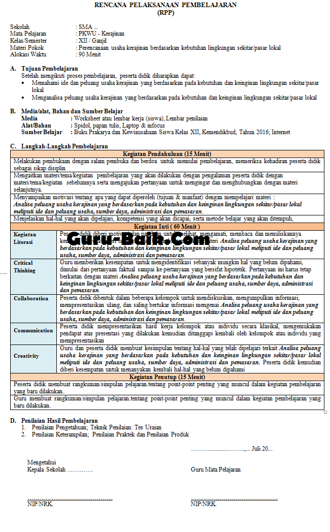 Gambar rpp 1 lembar PKWU Kelas 12 tahun 2021/2022