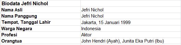 Profil dan Biodata Jefri Nichol
