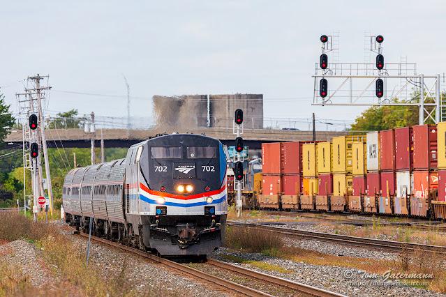 AMTK 702 leading Empire Service train P284 at DeWitt Yard