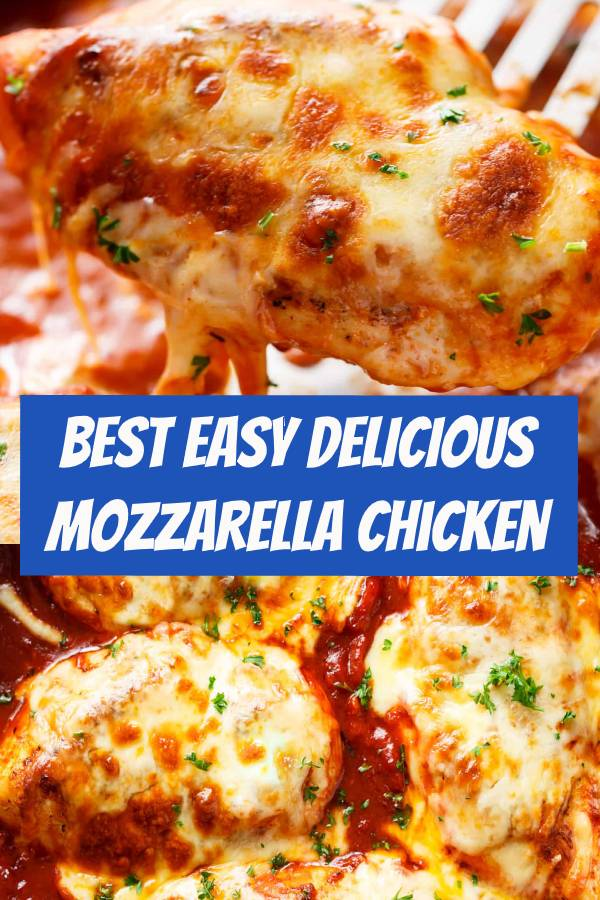 The BEST Easy Mozzarella Chicken recipe that happens to be exactly what it claims to be.. EASY! A 20-minute Low Carb Chicken Parmesan WITH NO BREADING! You don't even MISS a crispy crumb on this chicken, it is SO good! #easyrecipes #dinner #lowcarb #chicken #mozzarella