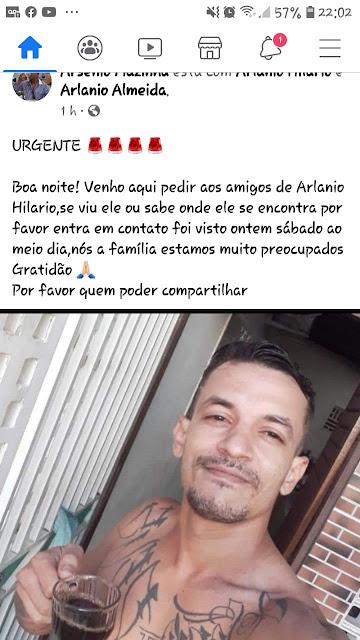 ALTO DO RODRIGUES RN-Família procura por homem desaparecido em Alto do Rodrigues