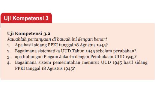 Jawaban Uji Kompetensi 3.2 Halaman 81 PPKn Kelas 7 (Perumusan dan Pengesahan UUD 1945)