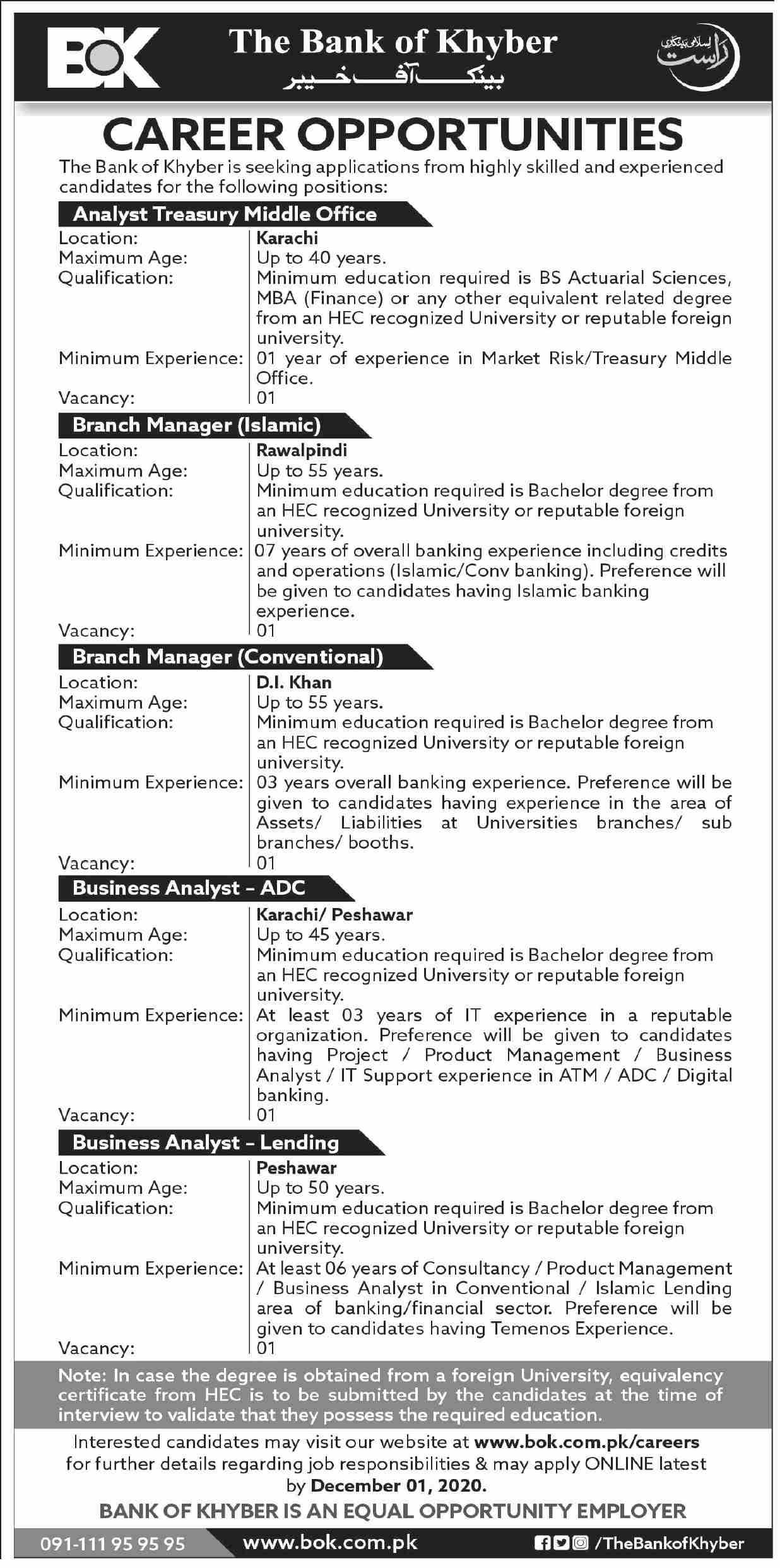 Bank of Khyber BOK Latest Nov 2020 Jobs in Pakistan 2020 - Online Apply - www.bok.com.pk/careers/
