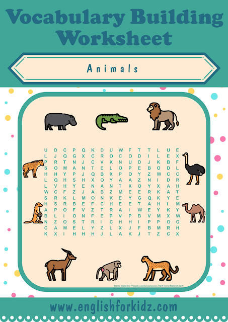 African animals word search worksheet - printable ESL materials