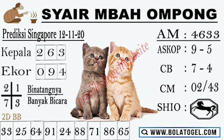 Syair Mbah Ompong SGP Kamis 12 November 2020