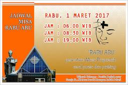 Update Jadwal Misa Rabu Abu 2017