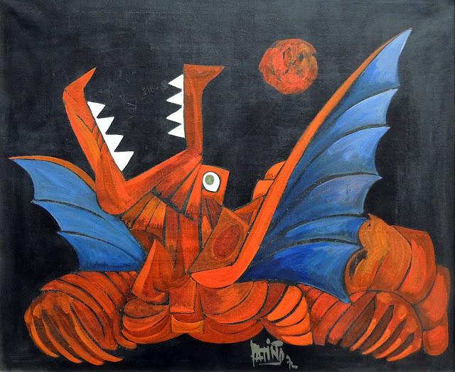 Antonio Patiño óleo sobre lienzo dragón cubismo