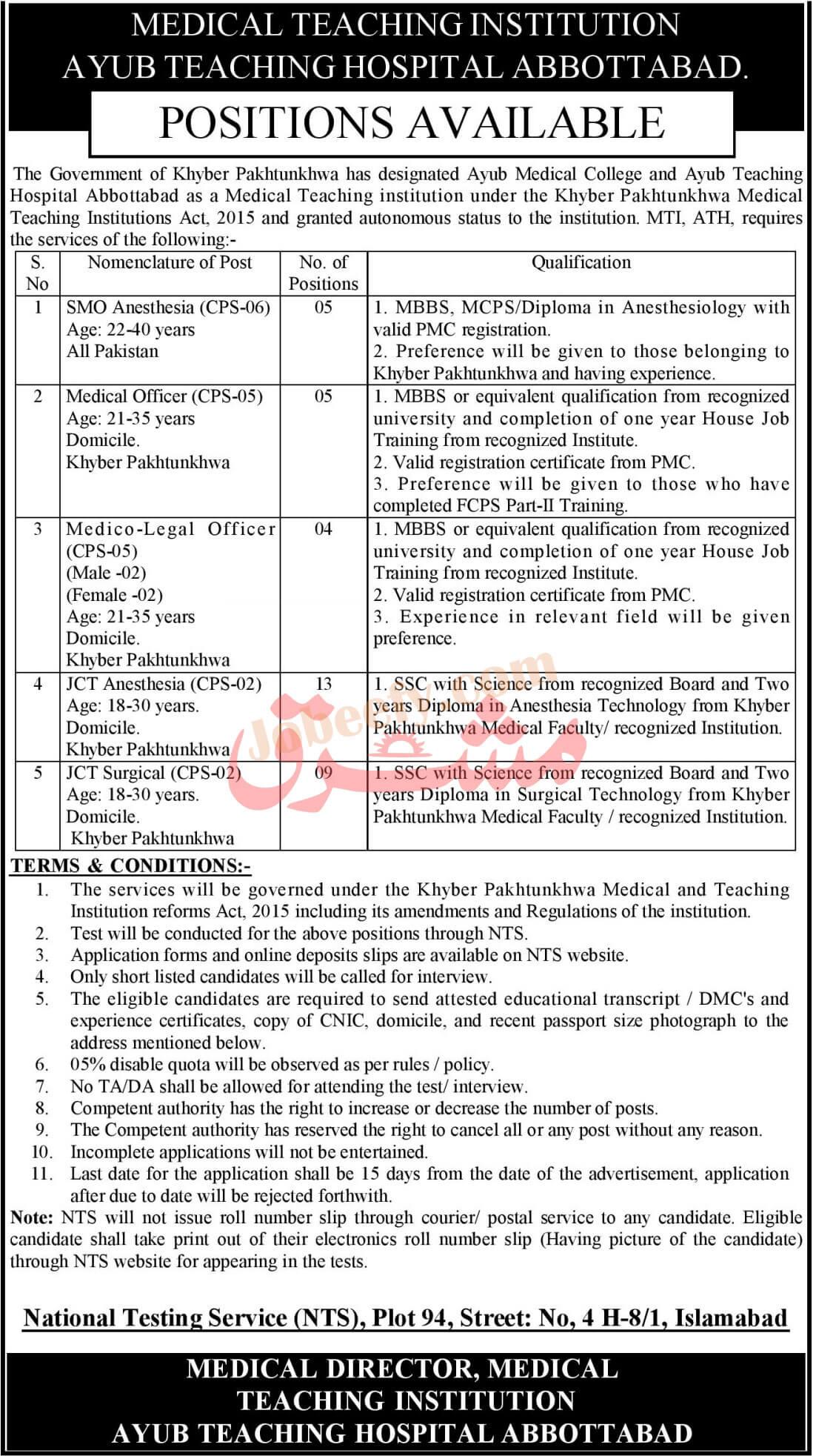 Abbottabad Ayub Teaching Hospital (ATH) Jobs 2021 Via NTS