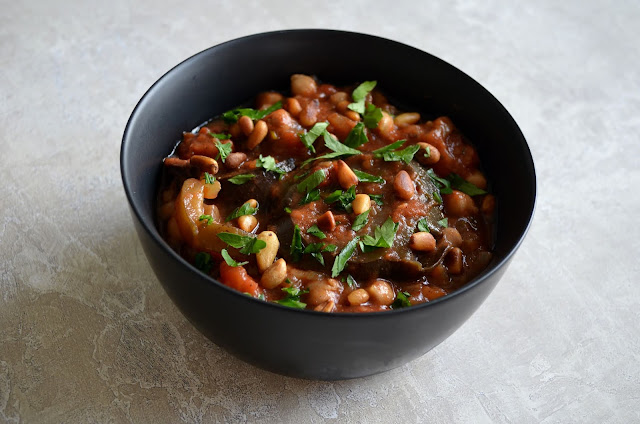 Vegan aubergine and chickpea stew
