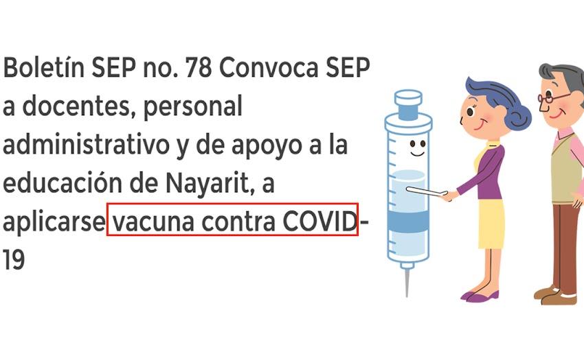 Boletín SEP no. 78 Convoca SEP a docentes, personal administrativo y de apoyo a la educación de Nayarit, a aplicarse vacuna contra COVID-19