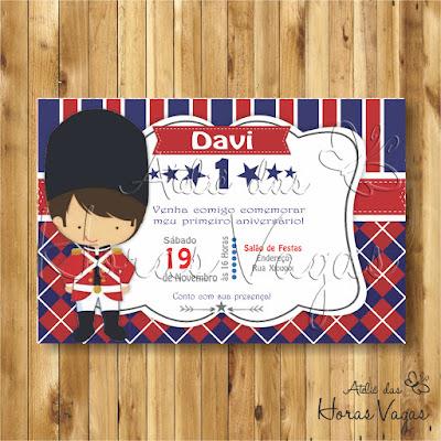 convite digital aniversário infantil personalizado artesanal festa 1 aninho chá de bebê fraldas Soldadinho de chumbo inglês Inglaterra londres soldado guarda real menino