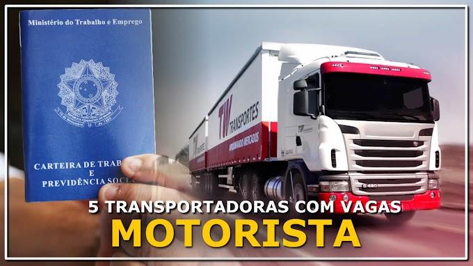 5 Transportadoras com Vagas para Motorista