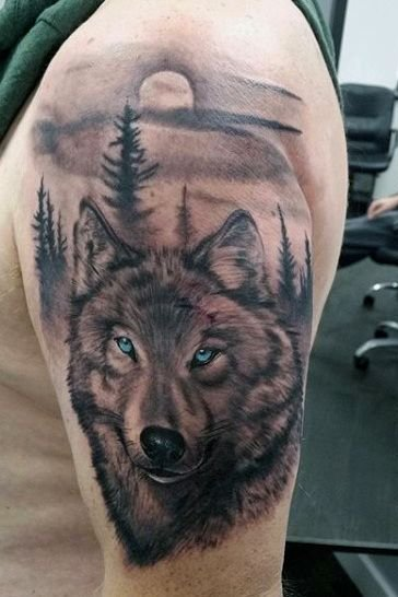 Wolf Tattoos on Shoulder