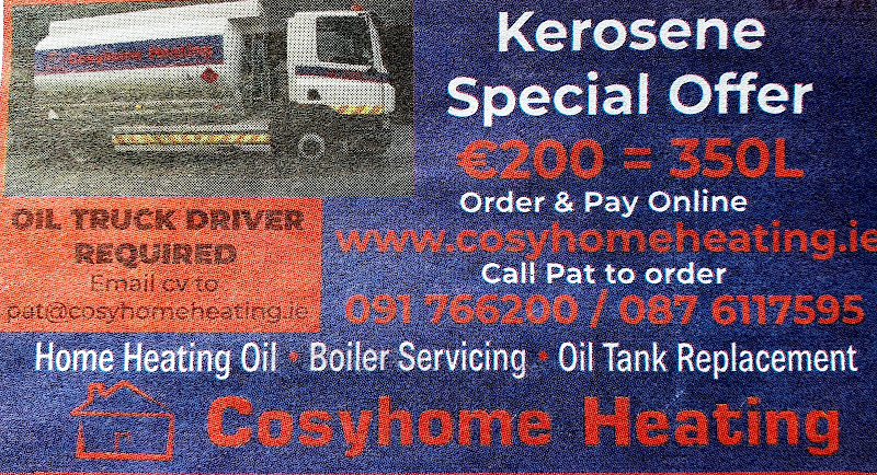 newspaper advertisement with a picture of an oil tanker, services (home heating oil, boiler servicing), company details (https://www.cosyhomeheating.ie/ Phone 091 766200 / 087 6117595), and a staff-wanted advert all together