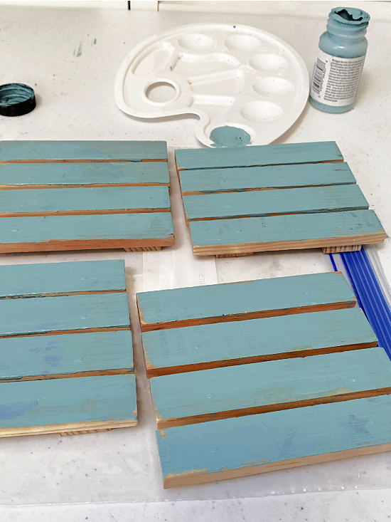 wooden coasters painted teal