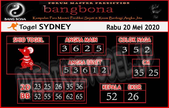 Prediksi Sydney Rabu 20 Mei 2020 - Bang Bona