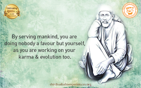 Serving Mankind - Sai Baba In Sitting Posture Painting Image