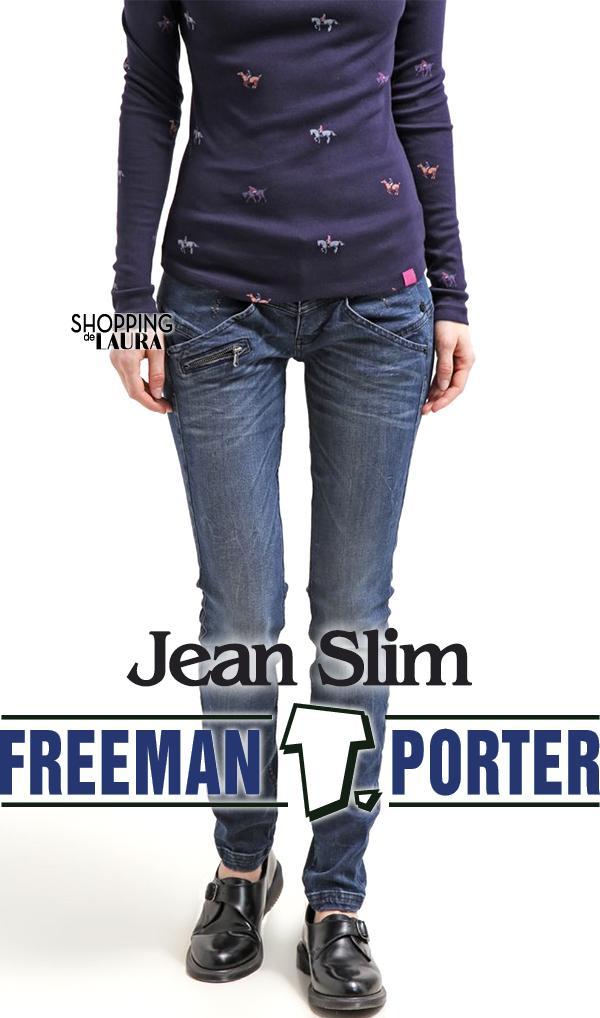 Jean femme slim bleu taille basse Freeman Porter