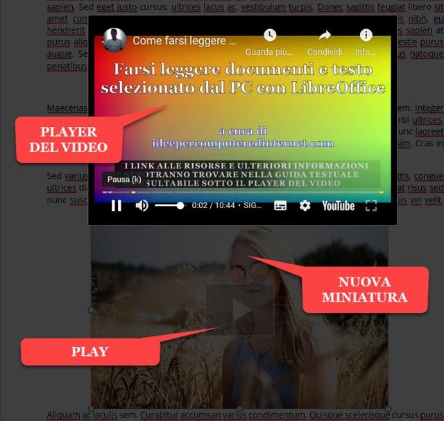 visualizzazione del player del video