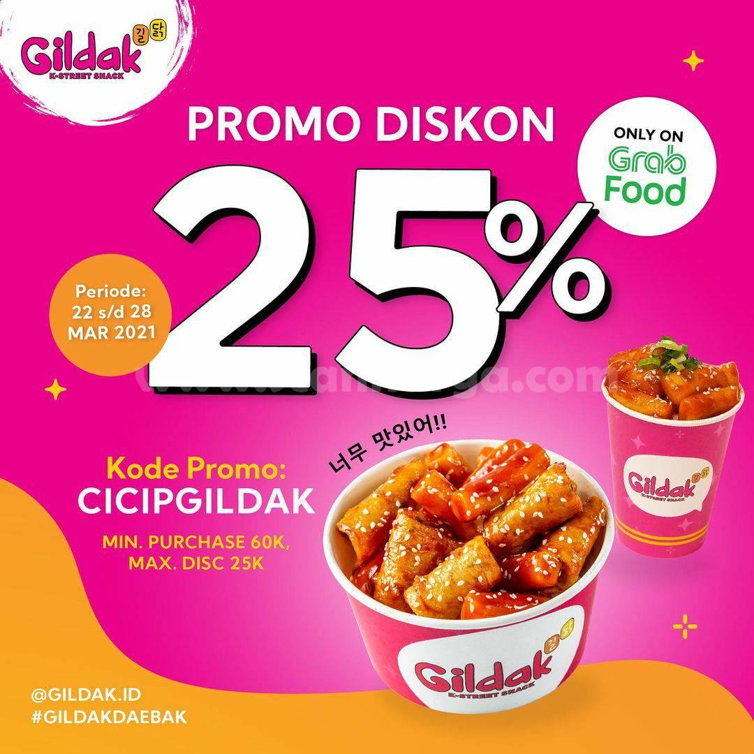 GILDAK Promo DISKON 25% via aplikasi GRABFOOD