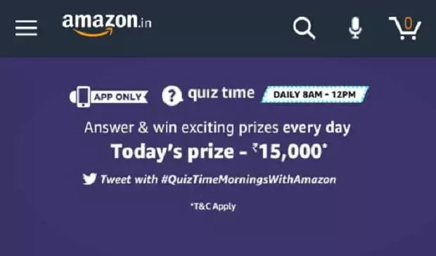 MAZON QUIZ ANSWER TODAY अमेजॉन क्विज आंसर टुडे 19 MARCH 2020-Win Rs.15,000 Amazon Pay balance