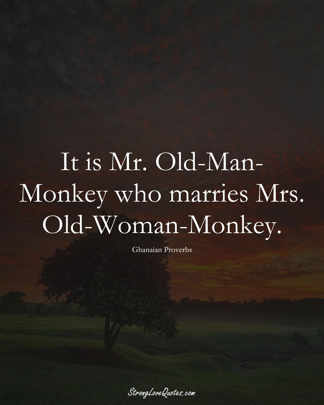 It is Mr. Old-Man-Monkey who marries Mrs. Old-Woman-Monkey. (Ghanaian Sayings);  #AfricanSayings