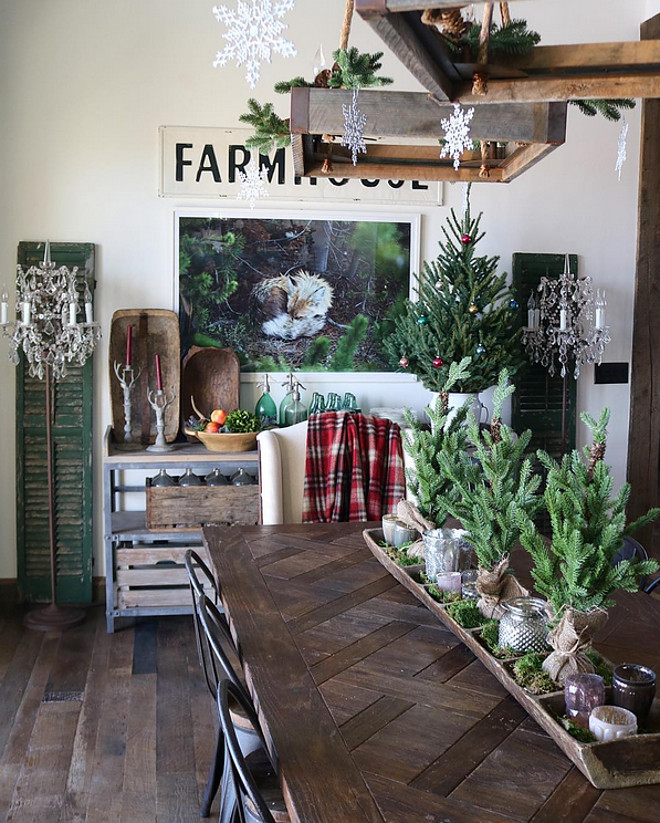 12 Rustic Dining Room Ideas: Rustic Farmhouse With A Charming Festive Atmosphere