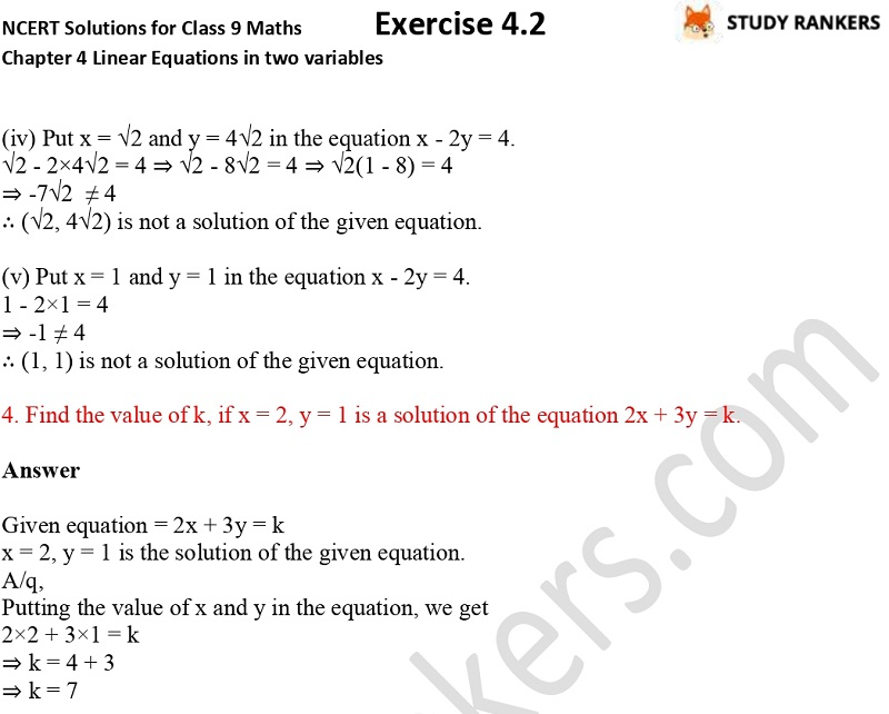 NCERT Solutions for Class 9 Maths Chapter 4 Linear Equations in Two Variables Exercise 4.2 Part 3