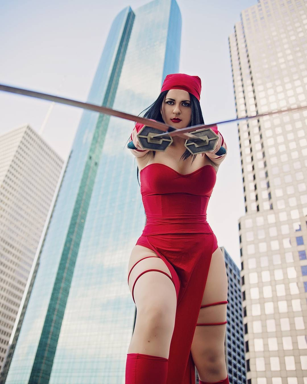 Model Christina McDaniel in Elektra cosplay
